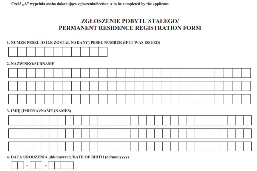 Początek formularza meldunkowego, potrzebnego do zameldowania najemcy na pobyt stały.