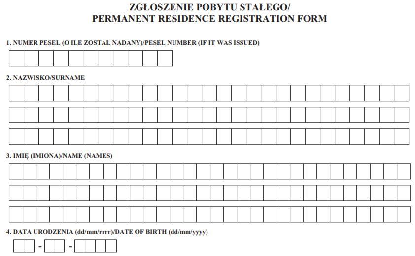 Część formularza potrzebnego do zameldowania w wynajętym mieszkaniu na pobyt stały.