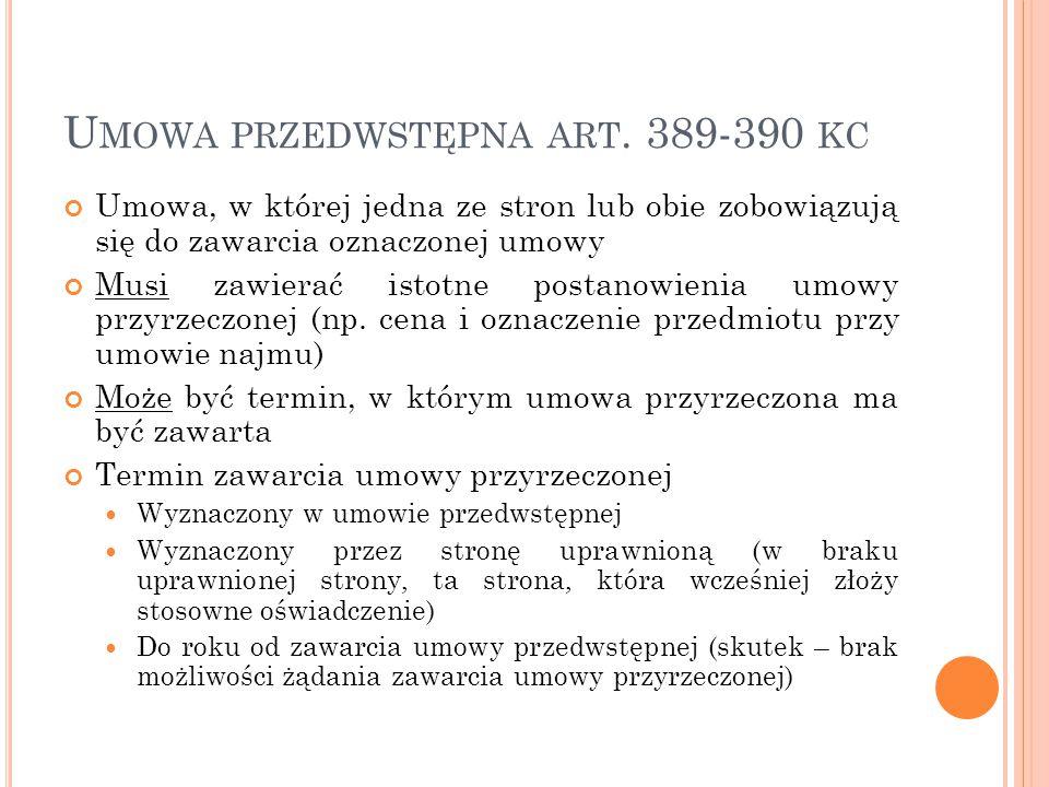 Przedwstępna umowa najmu - przepisy prawne