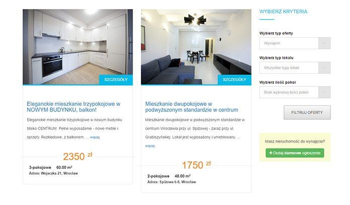 Ogłoszenie o wynajmie mieszkania - lista ofert