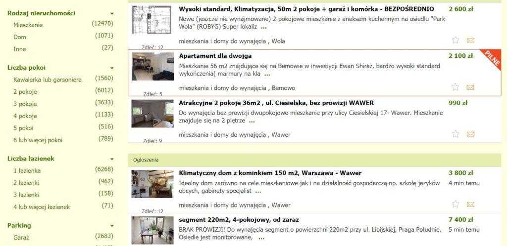 Ogłoszenie o wynajmie - lista przykładowych ofert